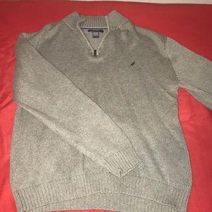 Nautica Gray Quarter-Zip Pullover Sweater